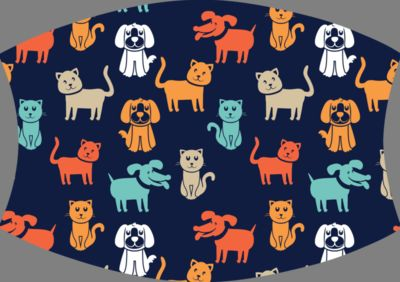 Dog and Cat Navy orange aqua